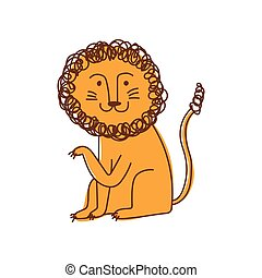 Cute Lion, Hand Drawn Design Element Can Be Used for T-shirt Print, Poster, Card, Label, Badge Vector Illustration