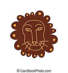 Cute Lion Head, Hand Drawn Design Element Can Be Used for T-shirt Print, Poster, Card, Label, Badge Stylized Vector Illustration