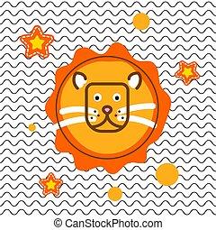 Cute lion head t-shirt vector print design.