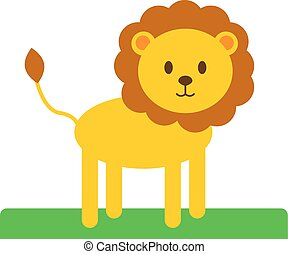 Cute lion, illustration, vector on white background.