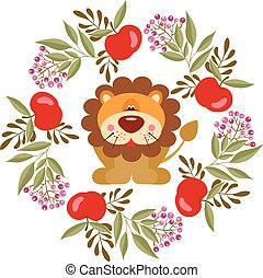 Cute lion in a spring circle frame made with apples