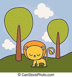 cute lion in landscape scene nature