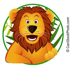 Cute lion in the circle