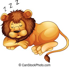 Cute lion sleeping alone illustration