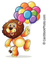 Cute lion with colorful balloons