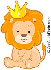 Cute Lion with Crown with Clipping Path