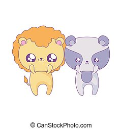 cute lion with raccoon baby animals kawaii style