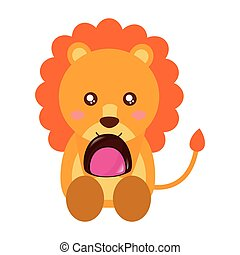 cute lion with sweet candy chocolate