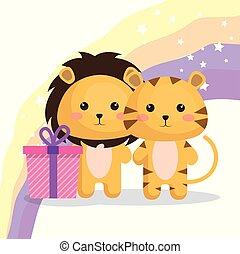 cute lions couple kawaii birthday card