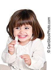 Cute litle girl holding lip balm - Portrait of cute little...