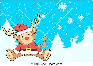 monkey plush santa claus costume xmas background