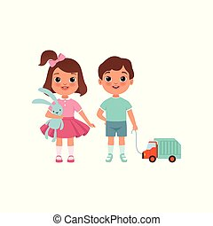 Cute litlle boy and girl characters with toys, stage of growing up concept vector Illustration on a white background