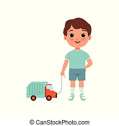 Cute litlle boy with toy car, stage of growing up concept vector Illustration on a white background