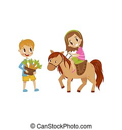 Cute litlle girl riding a horse, boy standing next to the horse with basket of carrots, equestrian sport concept cartoon vector Illustration isolated on a white background
