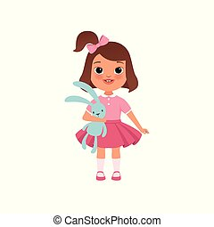 Cute litlle girl with toy bunny, stage of growing up concept vector Illustration on a white background