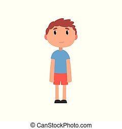Cute litlle preschooler boy cartoon vector Illustration on a white background