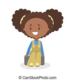 Cute little african american baby girl sitting