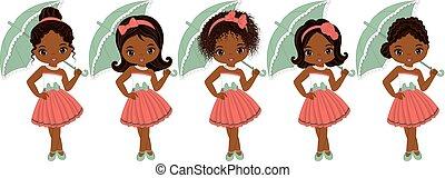 Cute Little African American Girls in Retro Style