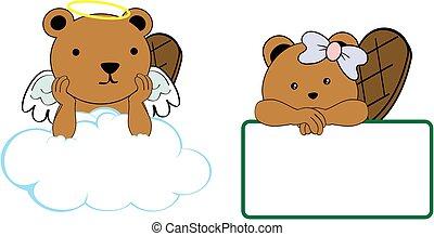 cute little angel and girl beaver baby cartoon copyspace