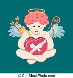 Cute little angel cupid is happy with a box of chocolates with a ribbon and a bow in his hands. Cherub levitates. Vector isolated illustration for the seasonal ferval holiday of St. Valentine's Day.