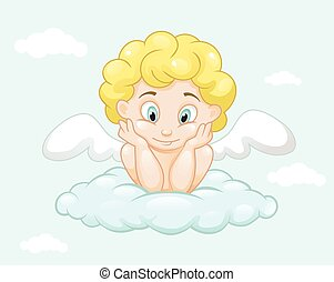 Cute little angel on cloud