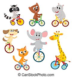 Cute little animal characters riding unicycle, bicycle,...