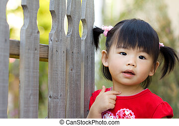 Cute little Asian Chinese girl - Close up of Asian chinese...