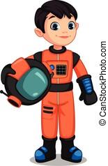 Cute little astronaut boy