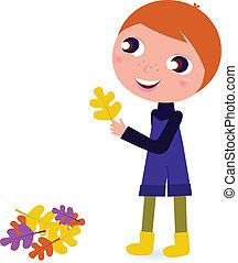 Cute little autumn Boy holding leaf