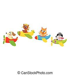 Cute little baby animal, pet characters flying on planes,...