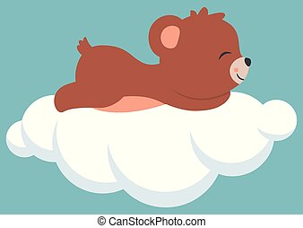 Cute Little Baby Bear Cub Sleeping on a Cloud Baby Shower