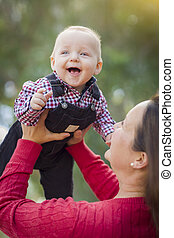 Little Baby Boy Having Fun With Mommy Outdoors - Cute Little...