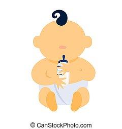Cute little baby boy holding a milk bottle