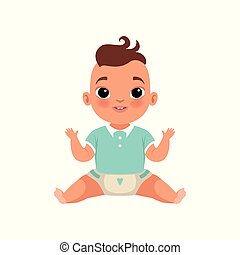 Cute little baby boy sitting on the floor, stage of growing up concept vector Illustration on a white background