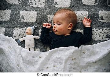 Cute little baby boy sleeping