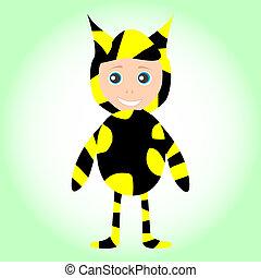 Cute little baby boy wearing funny bee costume