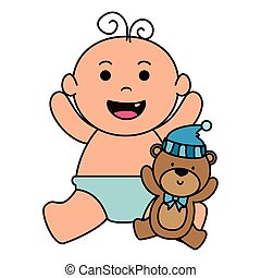 cute little baby boy with bear teddy