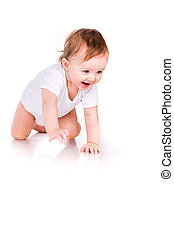 Cute little baby crawling