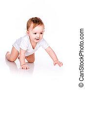 Cute little baby crawling