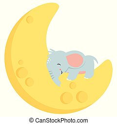 Cute Little Baby Elephant Sleeping on Crescent Moon Kawaii Style Flat Vector Illustration Isolated on White