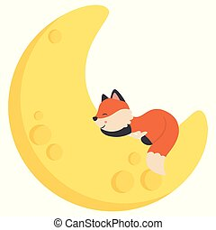 Cute Little Baby Fox Sleeping on Crescent Moon Kawaii Style Flat Vector Illustration Isolated on White