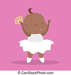 Cute little baby girl dance. Happy infant in dancer costume...