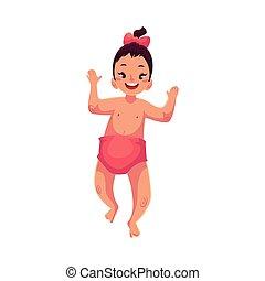 Cute little baby girl dancing happily