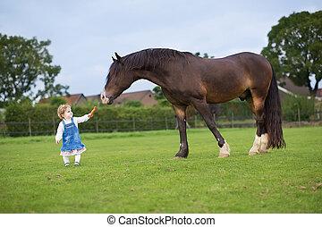 Cute little baby girl feeding a big horse on a ranch in...
