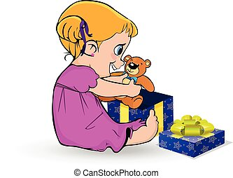 Cute little baby girl in pink dress open gift box with teddy bear toy clip art