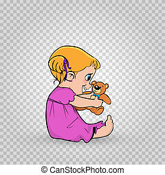 Cute little baby girl in pink dress playing with teddy bear isolated