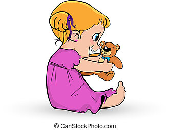 Cute little baby girl in pink dress playing with teddy bear on white
