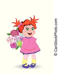 Cute Little Baby Girl in Pink Dress with Flowers