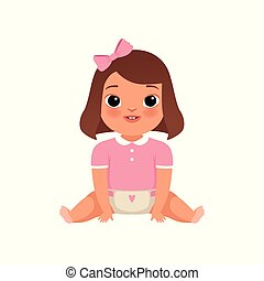 Cute little baby girl sitting on the floor, stage of growing up concept vector Illustration on a white background
