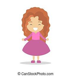 Cute little baby girl standing. Kid in pink dress
